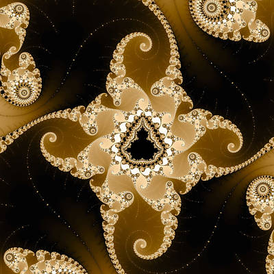 Candy Digital Art - Caramel Colored Fractal Art Square Format by Matthias Hauser