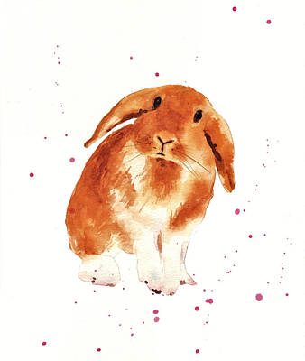 Rabbit Painting - Caramel Cuddles Bunny by Alison Fennell