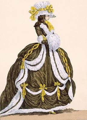 Royal Court Drawing - Caramel Dress For Presentation by Augustin de Saint-Aubin
