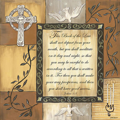 Doves Painting - Caramel Scripture by Debbie DeWitt