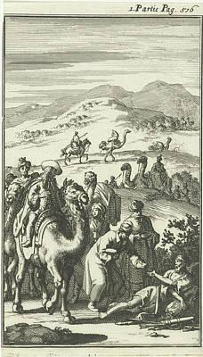 Work On Paper Drawing - Caravan Finds A Sick Arab On The Road, Jan Luyken by Quint Lox