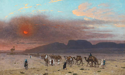 Jean-leon Gerome Painting - Caravan In The Desert by Jean-Leon Gerome