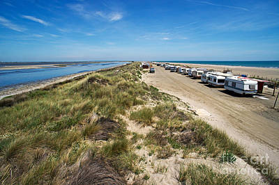 Caravans Aligned On Beach Art Print by Sami Sarkis