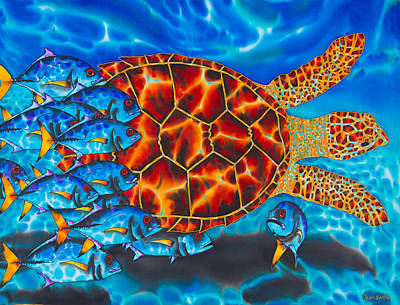 Caribbean Abstract Painting - Carbbean Sea Turtle by Daniel Jean-Baptiste