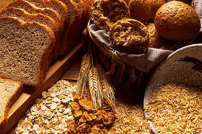 Carbohydrates Bread And Grains Art Print by Science Source