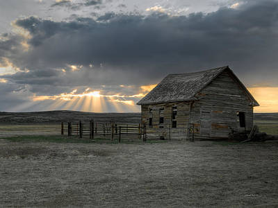 Sun Rays Photograph - Carbon County Cabin by Leland D Howard