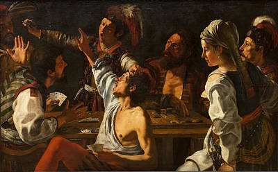 Backgammon Painting - Card And Backgammon Players. Fight Over Cards by Theodoor Rombouts