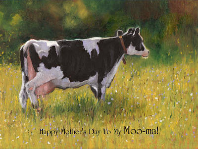 Pastel - Card For Mom With Cow And Pun by Joyce Geleynse
