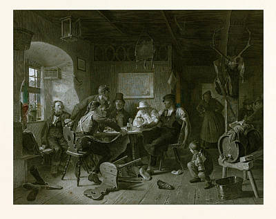 Everyday Life Drawing - Card Game, Germany, Everyday Life, Interior, Figures, Men by German School