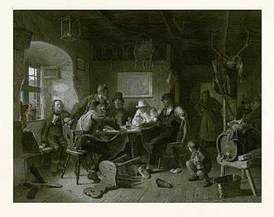 Card Game, Germany, Everyday Life, Interior, Figures, Men Print by German School