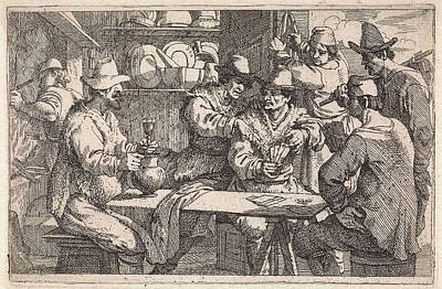 Baptist Drawing - Card Players In Tavern, Jan Baptist De Wael by Jan Baptist De Wael