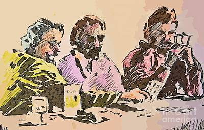 Texas Drawing - Card Players by John Malone