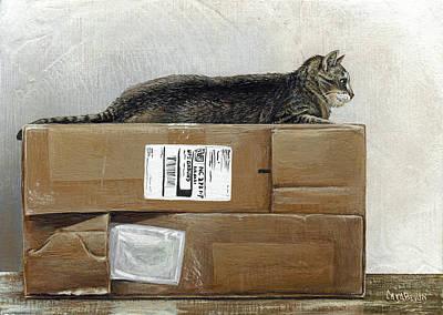 Cat Painting - Cardboard Queen Test by Cara Bevan