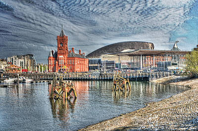 Cardiff Bay Textured Art Print