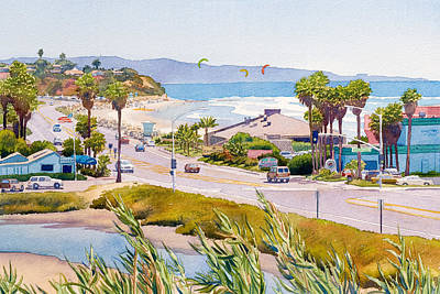California Coast Painting - Cardiff Restaurant Row by Mary Helmreich