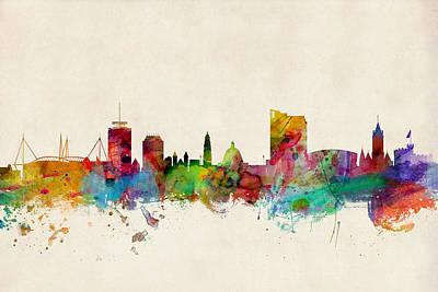 Great Digital Art - Cardiff Wales Skyline by Michael Tompsett