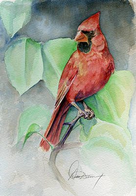 Note Card Painting - Cardinal #1 by Don Dane