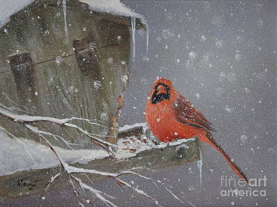 Painting - Cardinal At The Feeder by Margit Sampogna
