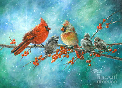 Cardinal Family Three Kids Art Print by Vickie Wade