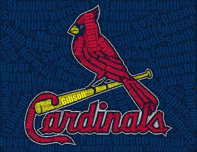 St Louis Cardinals Drawing - Cardinal Greats Mosaic by Paul Van Scott