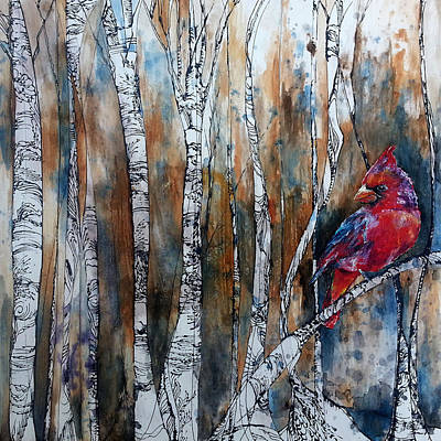 Art Print featuring the painting Cardinal In Birch Tree Forest by Christy  Freeman