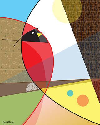 Digital Art - Cardinal In Fall by David Ralph
