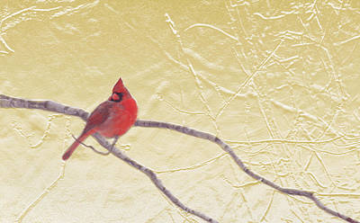 Mixed Media Royalty Free Images - Cardinal in gold leaf Royalty-Free Image by Steve Karol