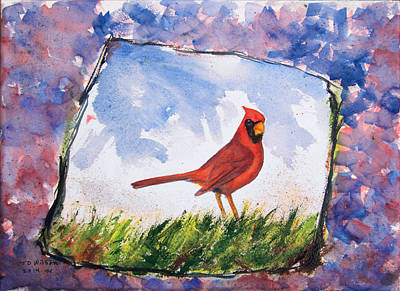 Cardinal In Grass - Jaggy Outline Original