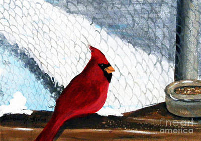 Cardinal In The Dogpound Art Print by Barbara Griffin
