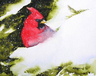 Painting - Cardinal In The Snow by William Beaupre