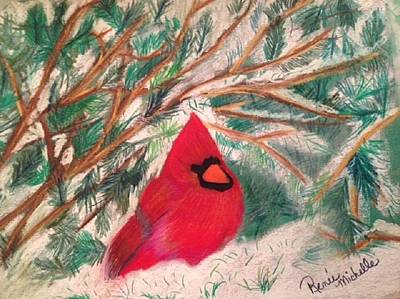 Pastel - Cardinal In The Snowy Pines by Renee Michelle Wenker