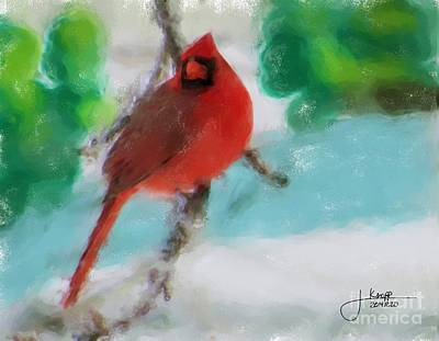 Pastel - Cardinal In Winter by Julie Knapp