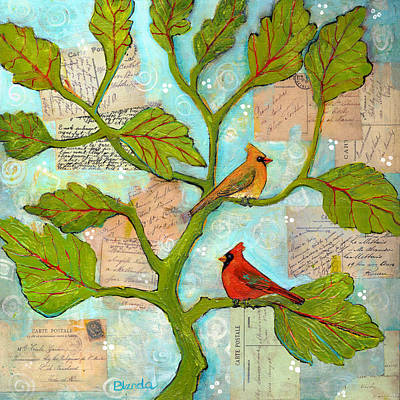 Branches Mixed Media - Cardinal Love Notes by Blenda Studio