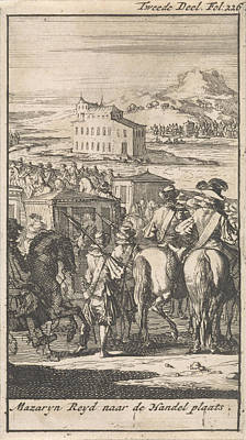 Pheasant Drawing - Cardinal Mazarin In A Carriage On The Way To Pheasant Island by Caspar Luyken And Boudewijn Van Der Aa