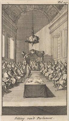 Cardinal Mazarin In A Meeting With Louis Xiii Art Print
