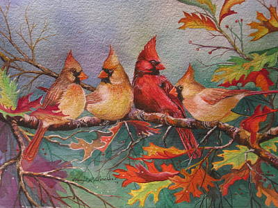 Cardinal Musings Art Print by Cheryl Borchert