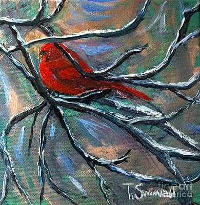 Painting - Cardinal On Elk River by Tina Swindell