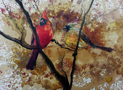 Art Print featuring the painting Cardinal Redbird Couple by Christy  Freeman