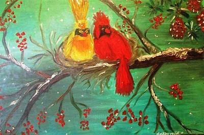 Painting - Cardinals Winter Scene by Debby Reid