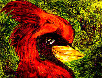 St. Louis Painting - Cardinal With Attitude by SHERRY Salant