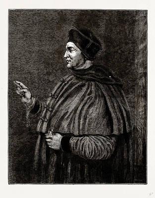 Cardinal Drawing - Cardinal Wolsey, Uk by Litz Collection