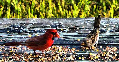 Mixed Media - Cardinal Wren by Terence Morrissey
