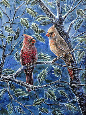 Painting - Cardinals And Holly by Gail Butler