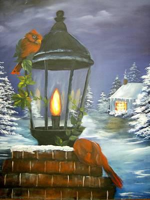 Cardinals At The Lamplight Art Print
