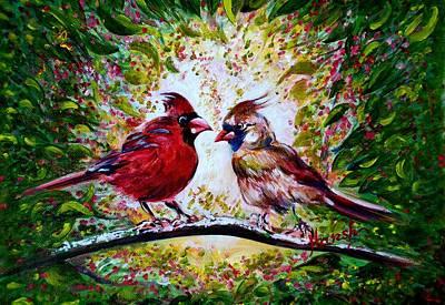 Nature Painting - Cardinals Chat by Harsh Malik