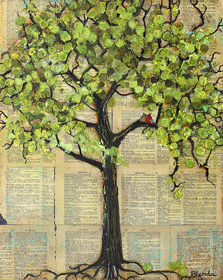 Cardinals In A Tree Print by Blenda Studio