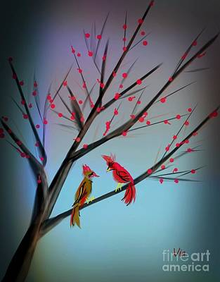 Cardinals In The Flowering Crab Art Print by Judy Via-Wolff