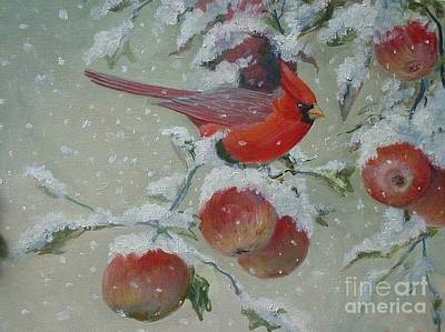 Painting - Cardinals In Winter by Perrys Fine Art
