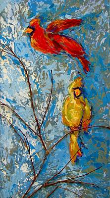 Painting - Cardinals On Twig by Kat Griffin