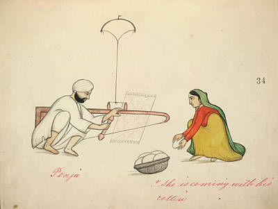 Carding Cotton Art Print by British Library